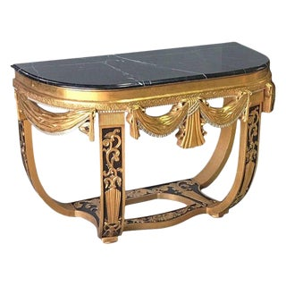 Art Deco Gilt & Polychromed Console in the Style Sue Et Mare For Sale