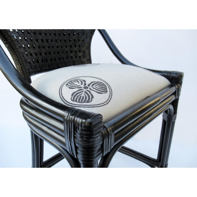 C.1996 Palecek Black Leather Strapped Rattan Counter Stools - a Pair For Sale - Image 10 of 12