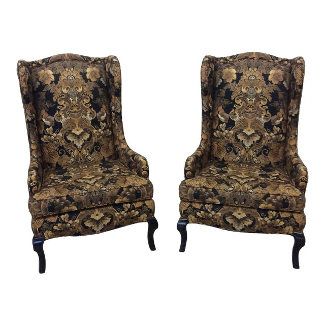 Hollywood Regency Black & Gold High Back Chairs - a Pair For Sale
