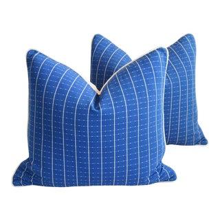 "Coastal Blue/White Nautical Feather/Down Pillows 22""x 20"" - Pair For Sale"