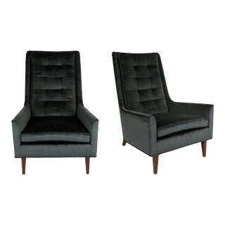 Pair of Sculptural High Back Lounge Chairs by Metropolitan