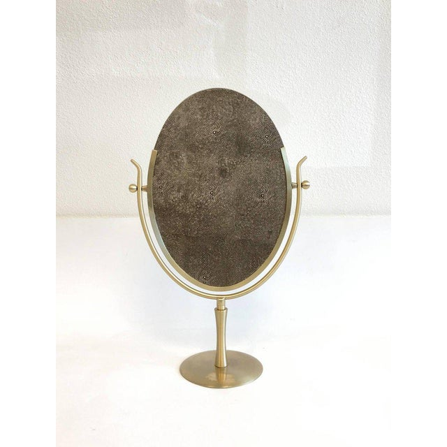 Satin Brass and Leather Vanity Mirror by Charles Hollis Jones For Sale - Image 10 of 11