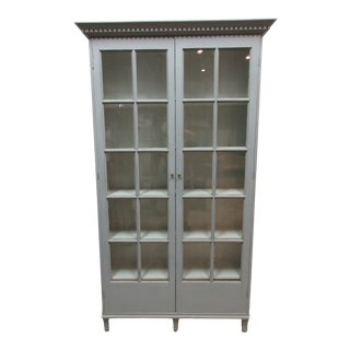 Gray Gustavian Two Door Glass Cabinet For Sale