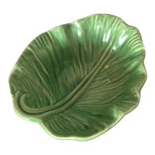Vintage Green Lettuce Decorative Bowl For Sale