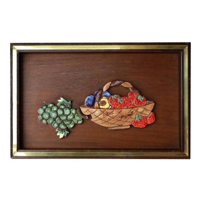 Ceramic on Wood Still Life Wall Art - Image 1 of 5