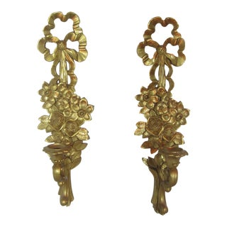 1960s Floral Ribbon Motif Hollywood Regency Gold Sconces - a Pair For Sale