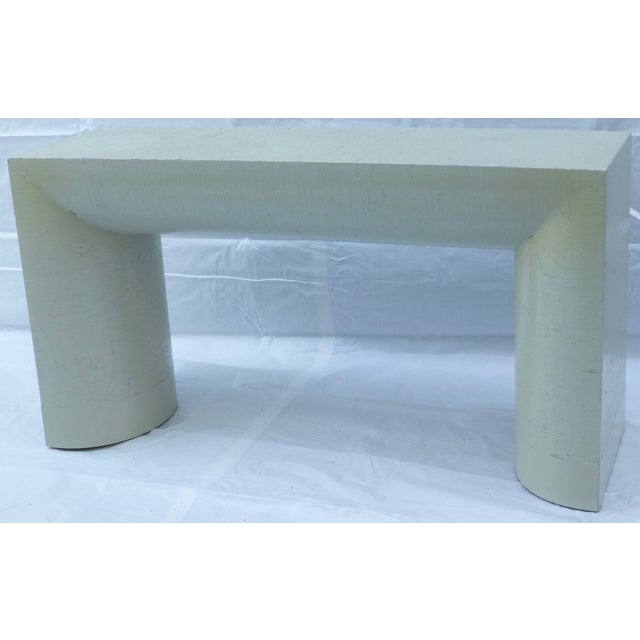 Karl Springer Style Grasscloth Console Table - Image 2 of 9