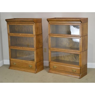 Antique Oak Pair 3 Stack Barrister Bookcases With Drawer Preview