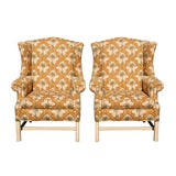 Image of Palm Tree Wingback Chairs - a Pair For Sale