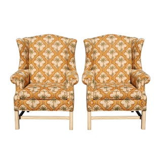 Palm Tree Wingback Chairs - a Pair For Sale