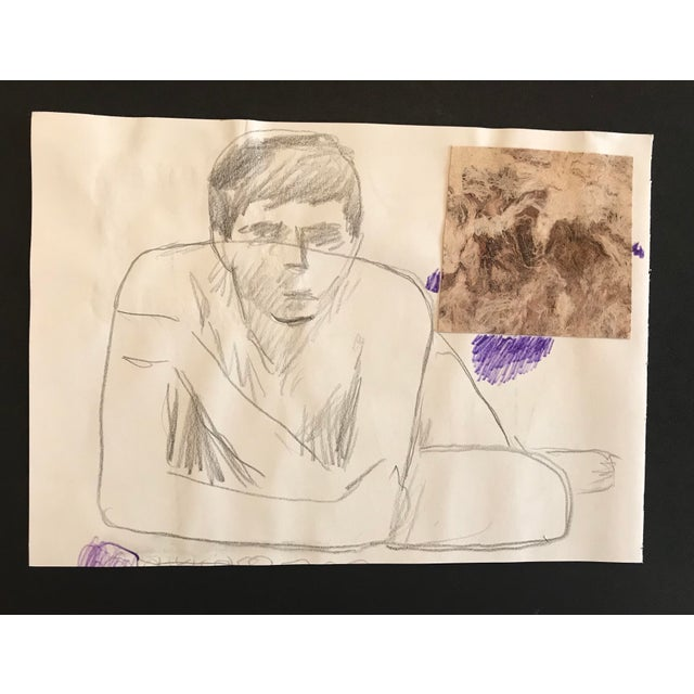 Contemporary 1980s James Bone Resting Man Collage Drawing For Sale - Image 3 of 3