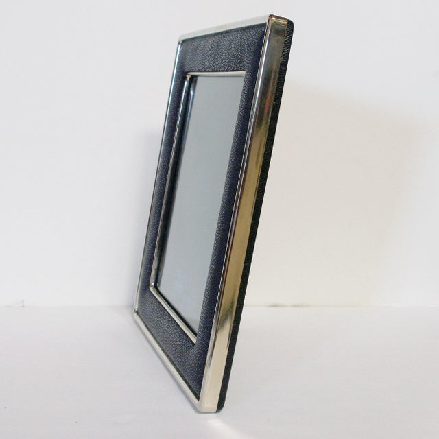 Black Shagreen Nickel-Plated Photo Frame For Sale In Palm Springs - Image 6 of 7