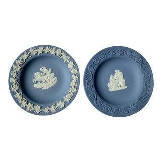 Wedgwood Blue Jasperware Trinket Dishes - Set of 2 For Sale