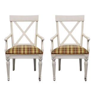 Late 20th Century Ethan Allen Regent's Park Dining Arm Chairs-A Pair For Sale