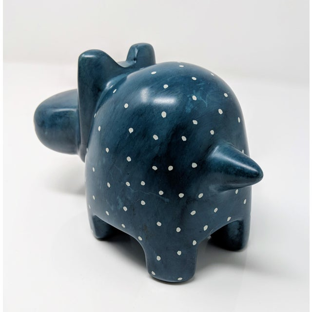 Hand Carved Navy Blue Soapstone Hippopotamus For Sale In Providence - Image 6 of 8