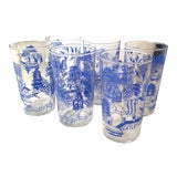 Image of Vintage Blue Willow Cocktail Glasses For Sale