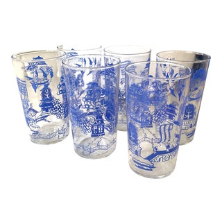 Vintage Blue Willow Cocktail Glasses For Sale