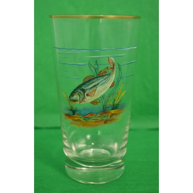 Vintage Mid-Century Hand-Painted 'Fish' High-Ball Glasses - Set of 4 For Sale - Image 4 of 6