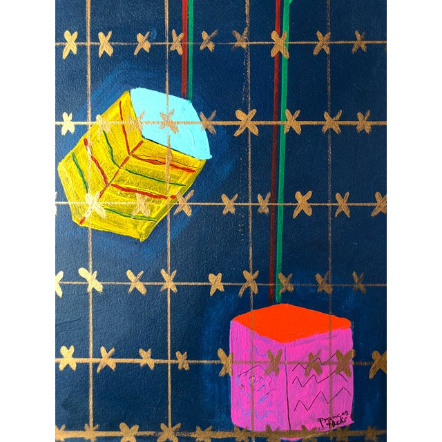 """Abstract Frances Schifflette Hicks Abstract """"Floating Cubes"""" 1980s San Francisco Women Artists For Sale - Image 3 of 8"""