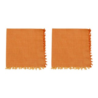 Two -Tone Napkins, Ocher & Yellow - A Pair For Sale