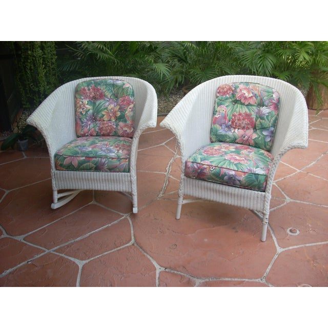 Contemporary Cottage Wicker Chair & Rocker - a Pair - Image 2 of 8