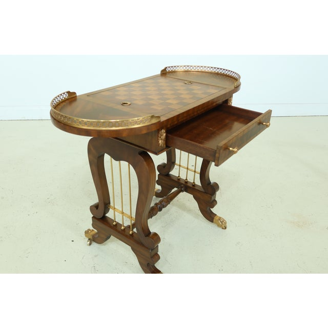 Wood Maitland Smith Checkerboard Reversible Top Mahogany Games Table For Sale - Image 7 of 13