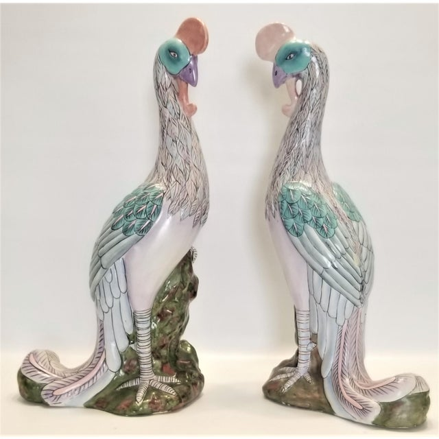 Mid-Century Modern Phoenix Bird Statues - Super Large 17 Inches - Feng Shui - Asian Palm Beach Boho Chic Animals Tropical Coastal For Sale - Image 3 of 13