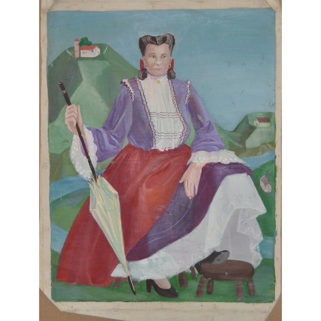Original oil on canvas by Nancy Larsen c.1940's. Rolling hills with an elaborately dressed woman holding a parasol. Good...