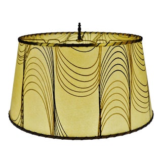 Mid Century Fiberglass Lamp Shade With Brass Trim