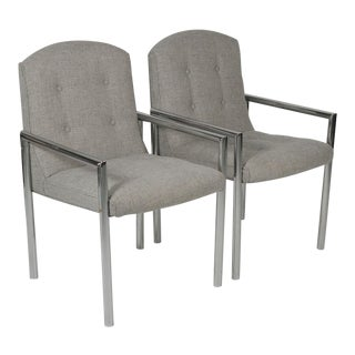 1970s Mid-Century Modern Grey Linen Chrome Tube Armchairs - a Pair