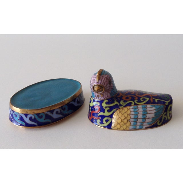 Cloisonne Enameled Bird Trinket Box For Sale - Image 5 of 7