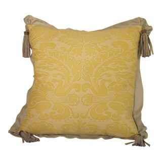 Vintage Fortuny Fabric Pillow For Sale
