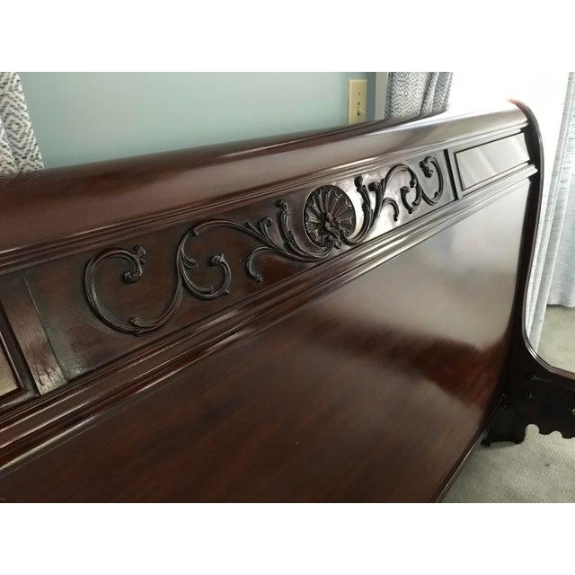 Henkel Harris Chippendale Henkel Harris Mahogany King Sleigh Bed For Sale - Image 4 of 13