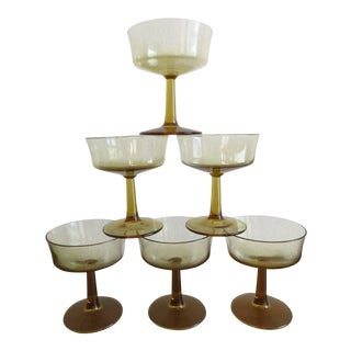 1960s Mid-Century Modern Amber Yellow Champagne Coupes - Set of 6 For Sale