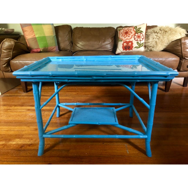 Turquoise Blue Bamboo Rattan Table For Sale - Image 10 of 10