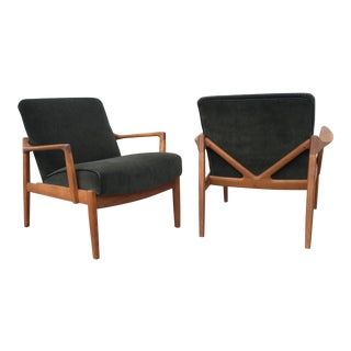 Tove & Edvard Kindt-Larsen Mohair V Back Armchairs for France and Son- a Pair For Sale