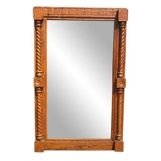 Antique 19th Century Carved Eastlake Victorian Barley Twist Wall Mirror ( 2x3 ) For Sale