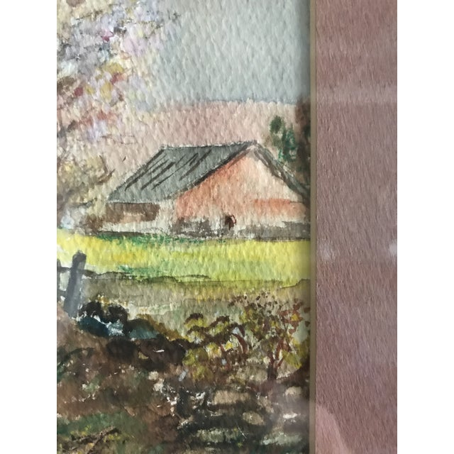 Vintage Mid-Century Rural House and Trees Original Watercolor Painting For Sale - Image 4 of 7