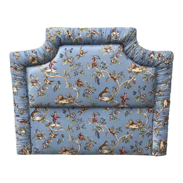 1980s Boho Chic Blue Tufted Ruching Queen Headboard With Monkey Pomegranate Details** For Sale