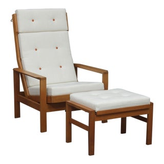 1960s Danish Modern Borge Mogensen Reclining Armchair With Footstool - 2 Pieces For Sale