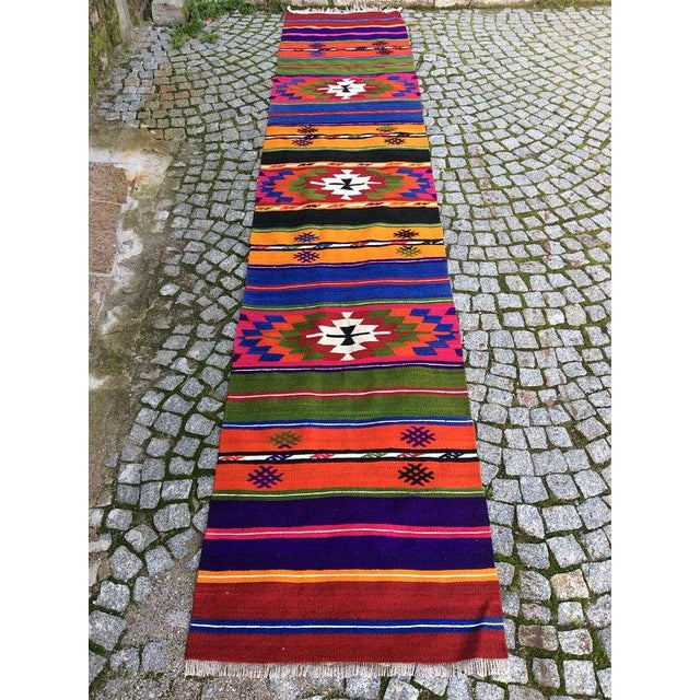 Vintage Turkish Anatolian Kilim Rug - 2' X 10' - Image 6 of 6