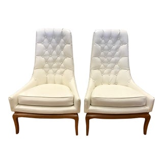 Vintage Mid Century Robsjohn Gibbings White Tufted Leather Chairs- A Pair For Sale