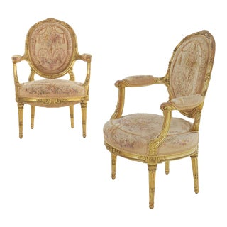 French Louis XVI Style Giltwood Antique Arm Chairs, Paris 1900 - a Pair For Sale