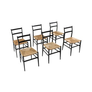 Gio Ponti Leggera Dining Chairs Black and Cord For Sale
