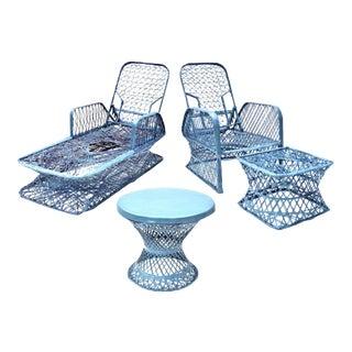 Russell Woodard Blue Spun Fiberglass Outdoor Chaise Loungers & Table Set - 3 Pieces