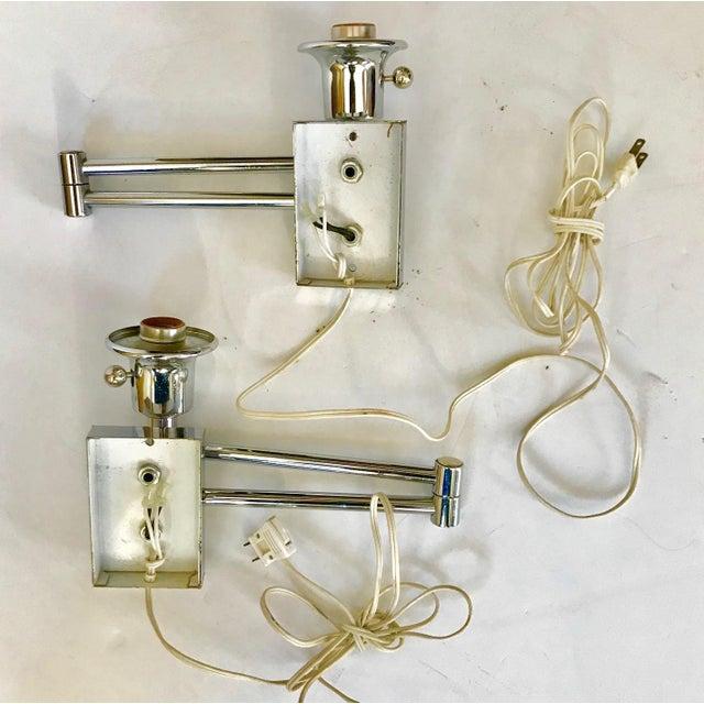 Chrome Swing Arm Sconces - A Pair - Image 3 of 4