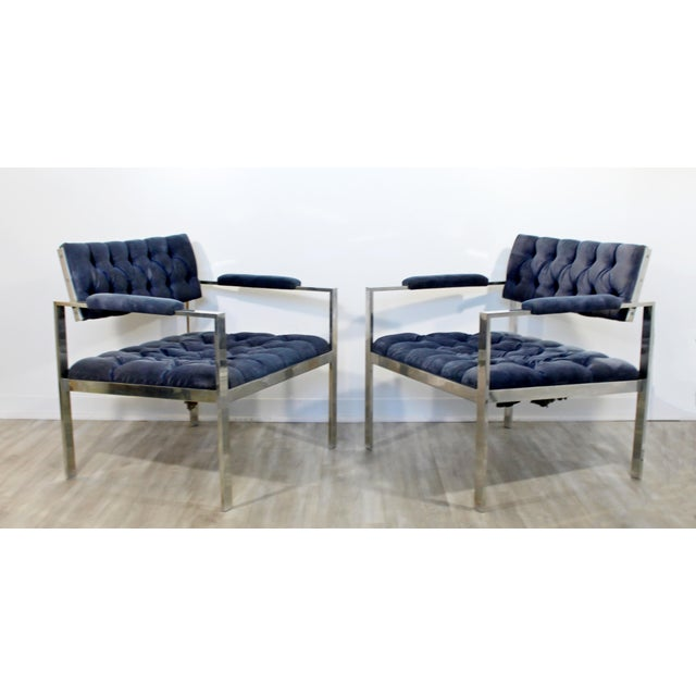Mid-Century Modern 1970s Vintage Harvey Probber Mid Century Modern Chrome Lounge Chairs & Ottoman - Set of 3 For Sale - Image 3 of 12