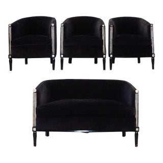 20th Century Art Deco Fauteuil Chairs and Sofa - 4 Pc. Set For Sale