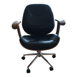 Leather & Wood Desk Chair