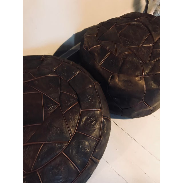 Islamic Dark Brown Leather Poufs - A Pair For Sale - Image 3 of 6